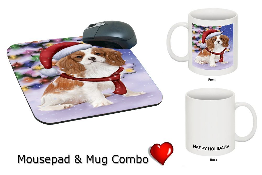 Winterland Wonderland Cavalier King Charles Spaniel Puppy Dog In Christmas Holiday Scenic Background Mug & Mousepad Combo Gift Set