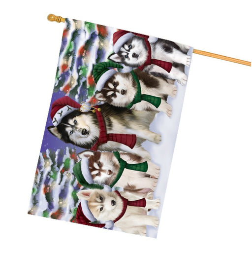Siberian Huskies Dog Christmas Family Portrait in Holiday Scenic Background House Flag