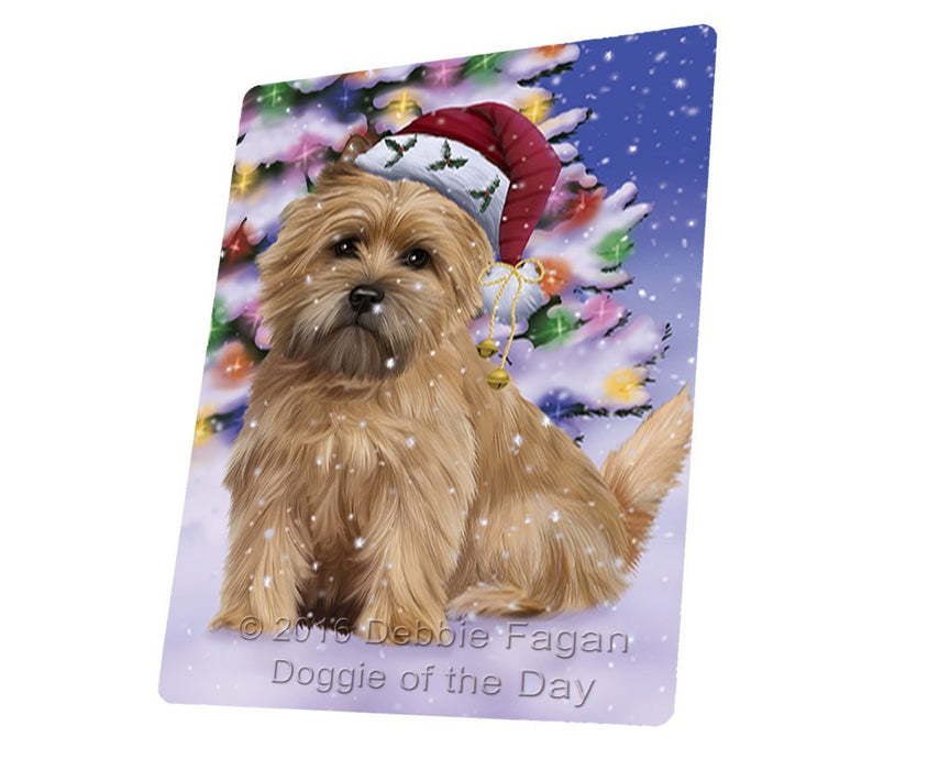 "Winterland Wonderland Cairn Terrier Dog In Christmas Holiday Scenic Background Magnet Small (5.5"" x 4.25"")"