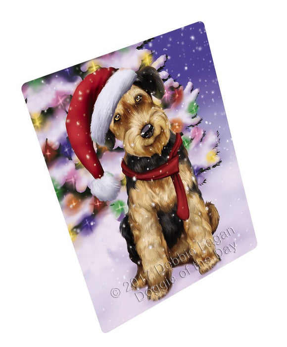 "Winterland Wonderland Airedales Puppy Dog In Christmas Holiday Scenic Background Magnet Mini (3.5"" x 2"")"