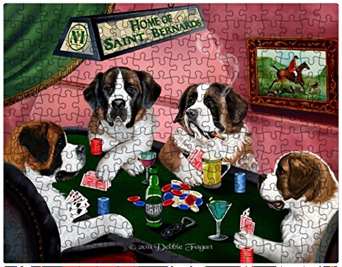 Saint Bernard Dogs Playing Poker 252 Pc. Puzzle with Photo Tin