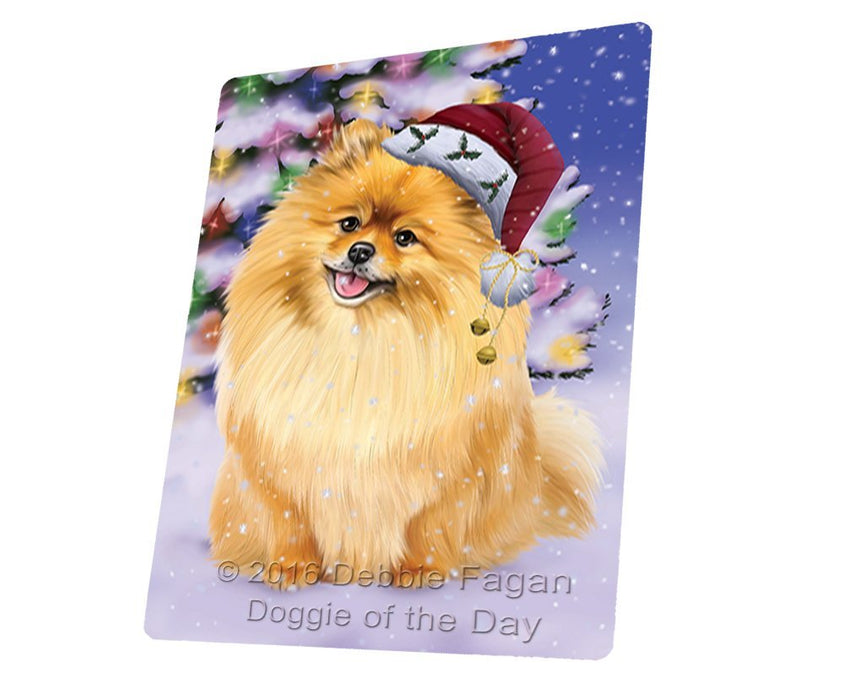Winterland Wonderland Pomeranians Dog In Christmas Holiday Scenic Background Magnet