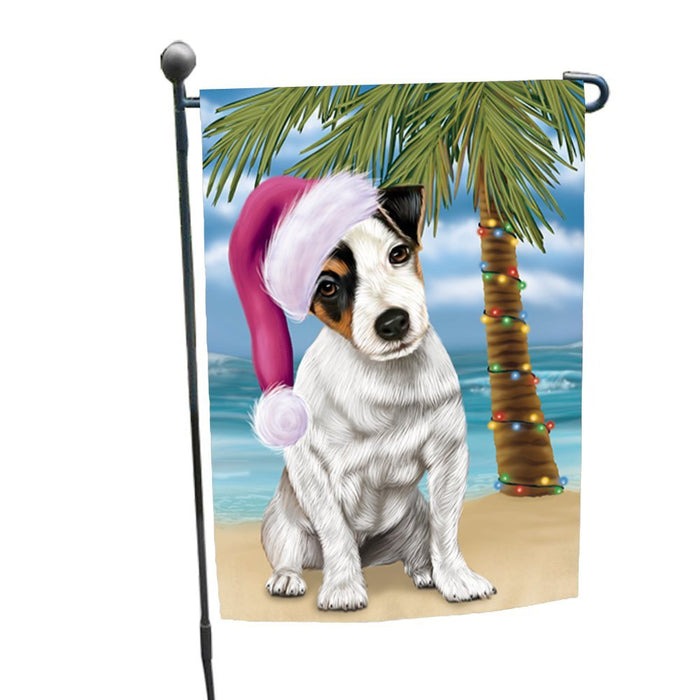 Summertime Happy Holidays Christmas Jack Russel Dog on Tropical Island Beach Garden Flag