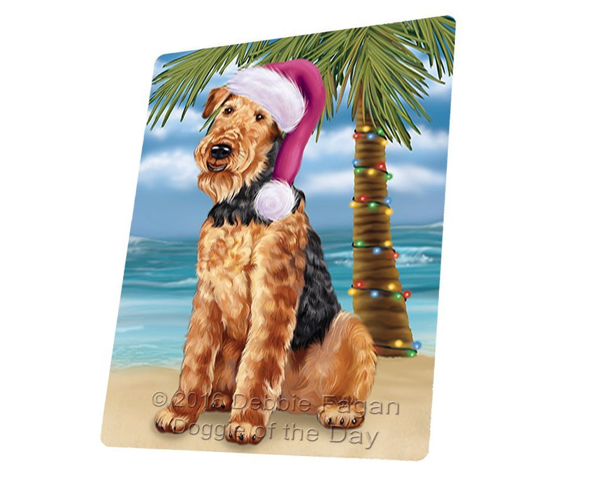"Summertime Happy Holidays Christmas Airedale Dog On Tropical Island Beach Magnet Mini (3.5"" x 2"")"