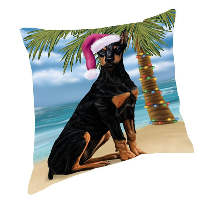 Summertime Happy Holidays Christmas Doberman Dog on Tropical Island Beach Throw Pillow