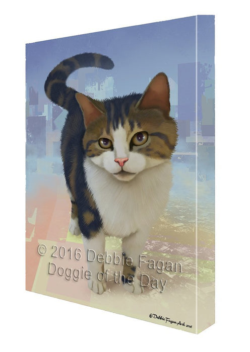 Tabby Cat Painting Printed on Canvas Wall Art