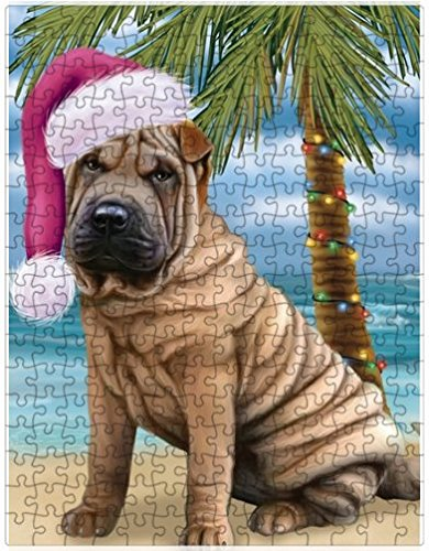 Summertime Happy Holidays Christmas Shar Pei Dog on Tropical Island Beach Puzzle with Photo Tin