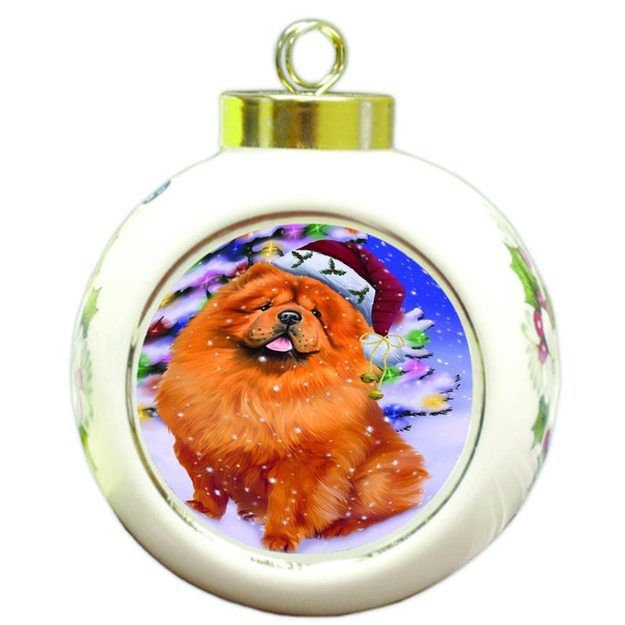 Winterland Wonderland Chow Chow Dog In Christmas Holiday Scenic Background Round Ball Ornament D527