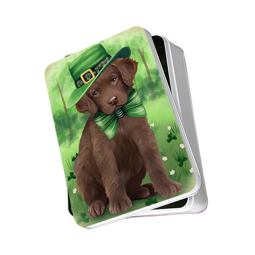 St. Patricks Day Irish Portrait Chesapeake Bay Retriever Dog Photo Storage Tin PITN48771