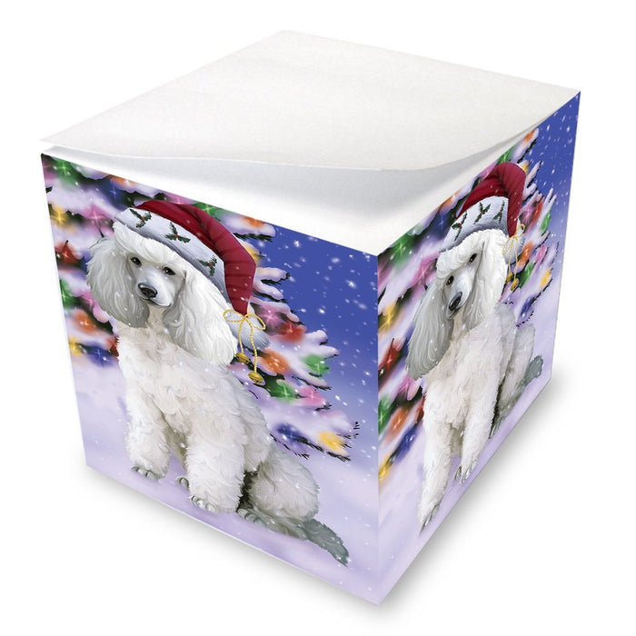 Winterland Wonderland Poodles Dog In Christmas Holiday Scenic Background Note Cube D599