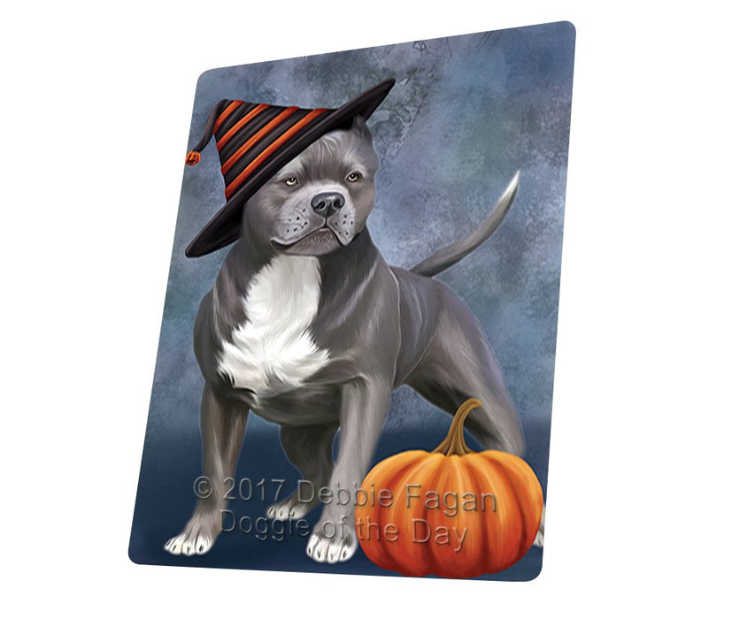 Happy Halloween Pit Bull Dog Donning Witch Hat and Pumpkin Magnet