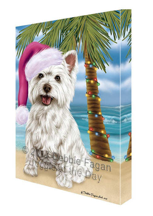 Summertime Happy Holidays Christmas West Highland Terriers Dog on Tropical Island Beach Canvas Wall Art