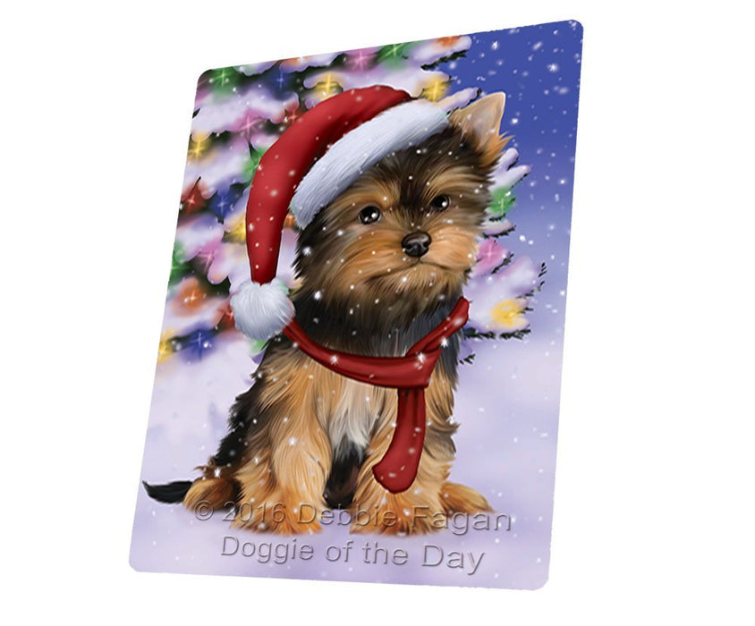 Winterland Wonderland Yorkshire Terriers Puppy Dog In Christmas Holiday Scenic Background Large Refrigerator / Dishwasher Magnet