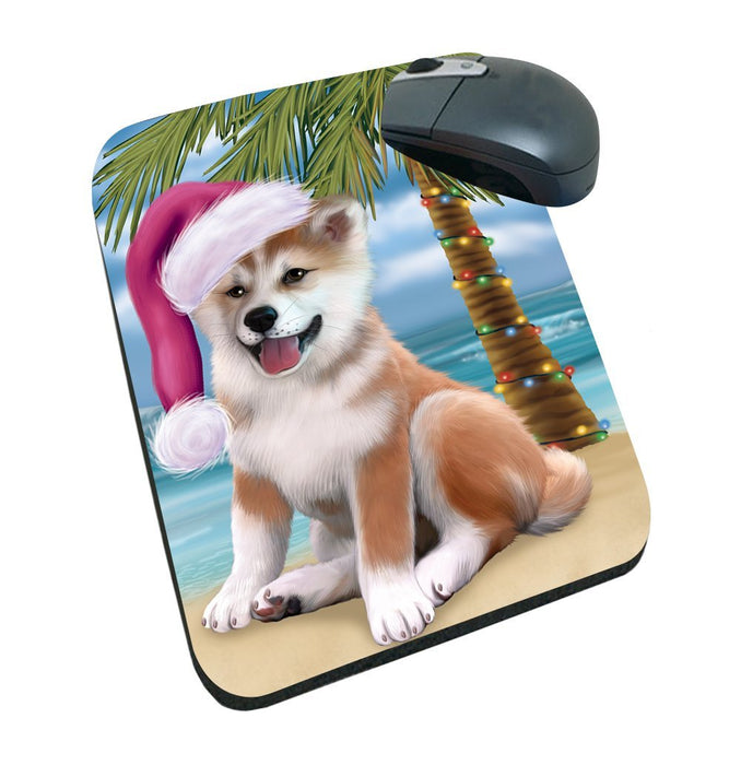 Summertime Happy Holidays Christmas Shiba Inu Dog on Tropical Island Beach Mousepad