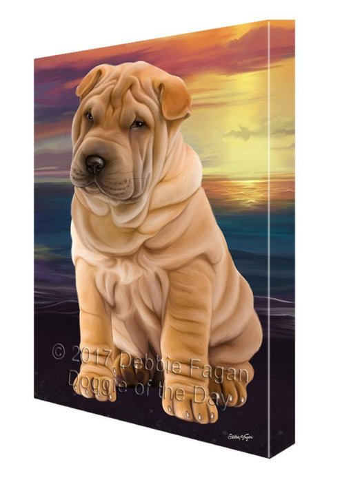 Shar-Pei Dog Painting Printed on Canvas Wall Art Signed