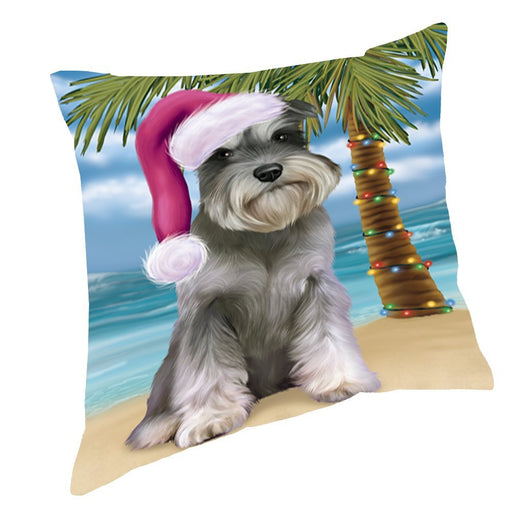 Summertime Happy Holidays Christmas Schnauzers Dog on Tropical Island Beach Throw Pillow