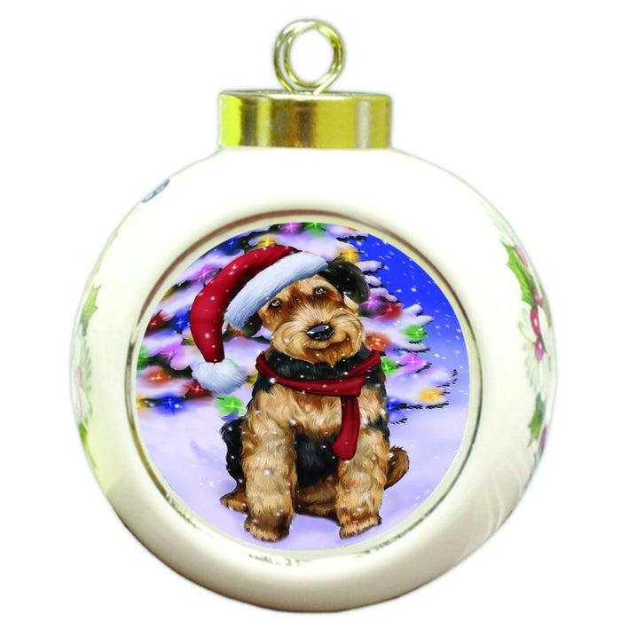 Winterland Wonderland Airedales Dog In Christmas Holiday Scenic Background Round Ball Ornament D536