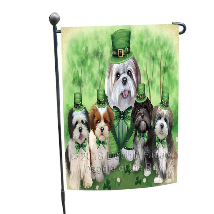 St. Patricks Day Irish Portrait Lhasa Apsos Dog Garden Flag GFLG49115