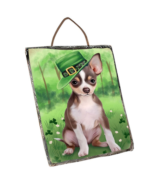 St. Patricks Day Irish Portrait Chihuahua Dog Wall Décor Hanging Photo Slate SLTH48774