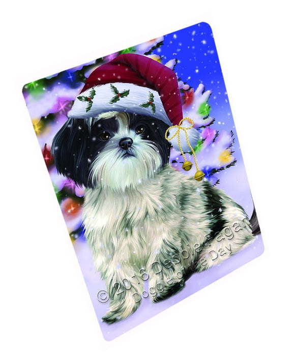 Winterland Wonderland Shih Tzu Dog In Christmas Holiday Scenic Background Art Portrait Print Woven Throw Sherpa Plush Fleece Blanket