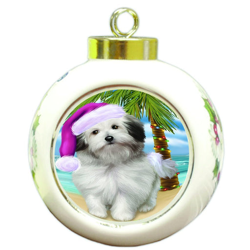 Summertime Happy Holidays Christmas Bolognese Dogs on Tropical Island Beach Round Ball Ornament D504
