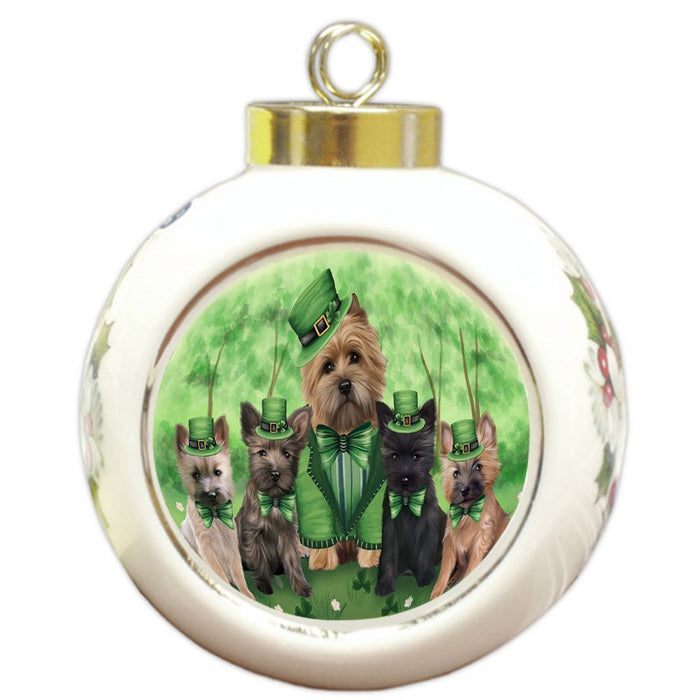 St. Patricks Day Irish Family Portrait Cairn Terriers Dog Round Ball Christmas Ornament RBPOR48759