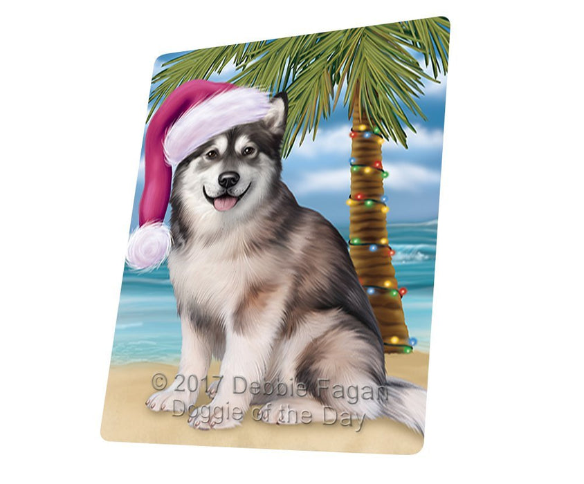 Summertime Happy Holidays Christmas Alaskan Malamute Dog on Tropical Island Beach Large Refrigerator / Dishwasher Magnet D136