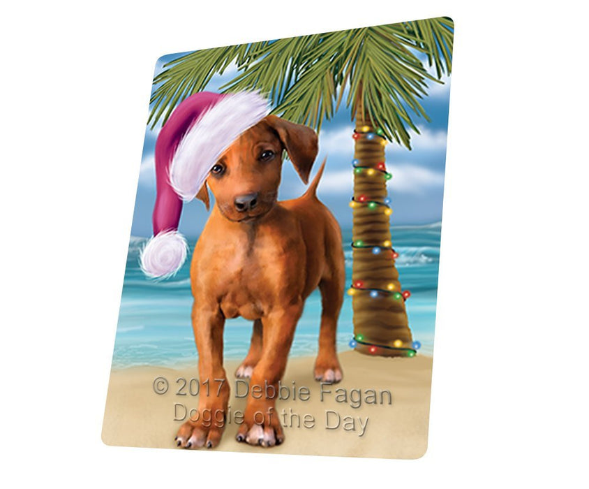 Summertime Happy Holidays Christmas Rhodesian Ridgeback Dog on Tropical Island Beach Tempered Cutting Board D133