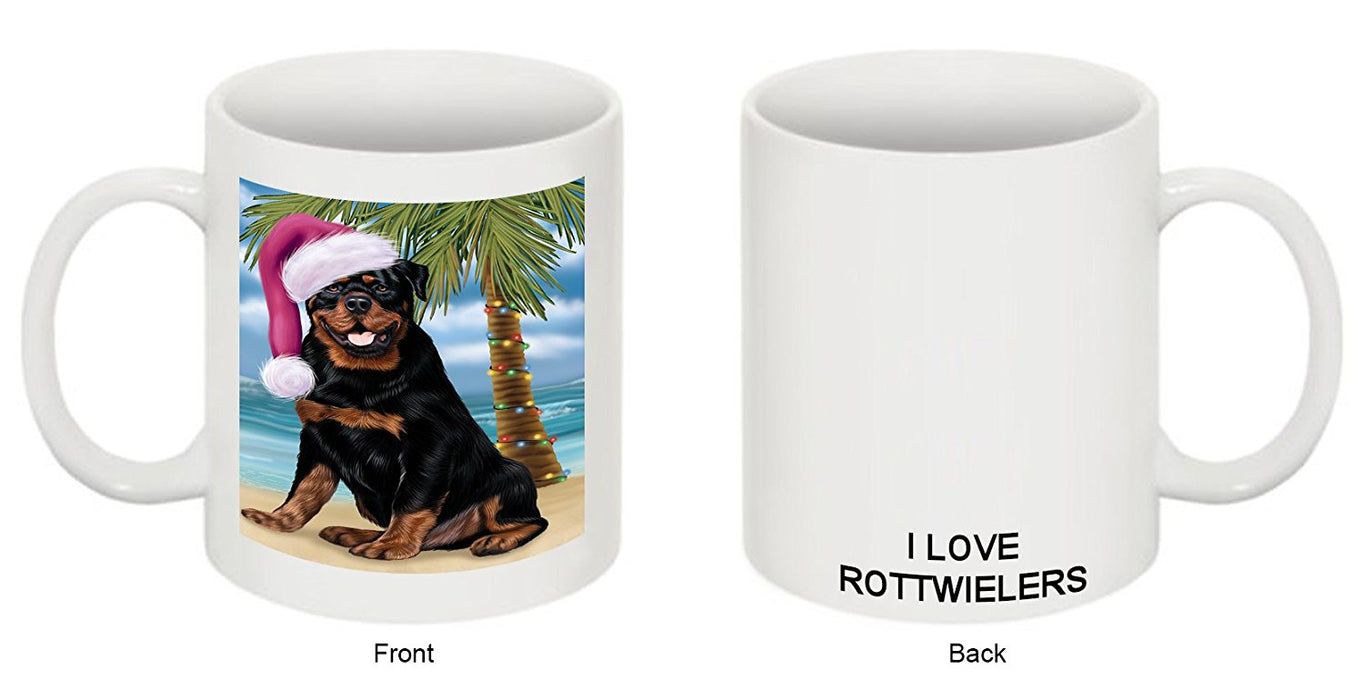 Summertime Rottweiler Adult Dog on Beach Christmas Mug CMG0825