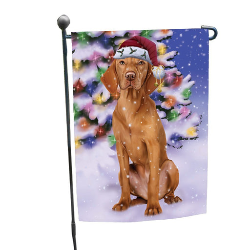 Winterland Wonderland Vizsla Dog In Christmas Holiday Scenic Background Garden Flag