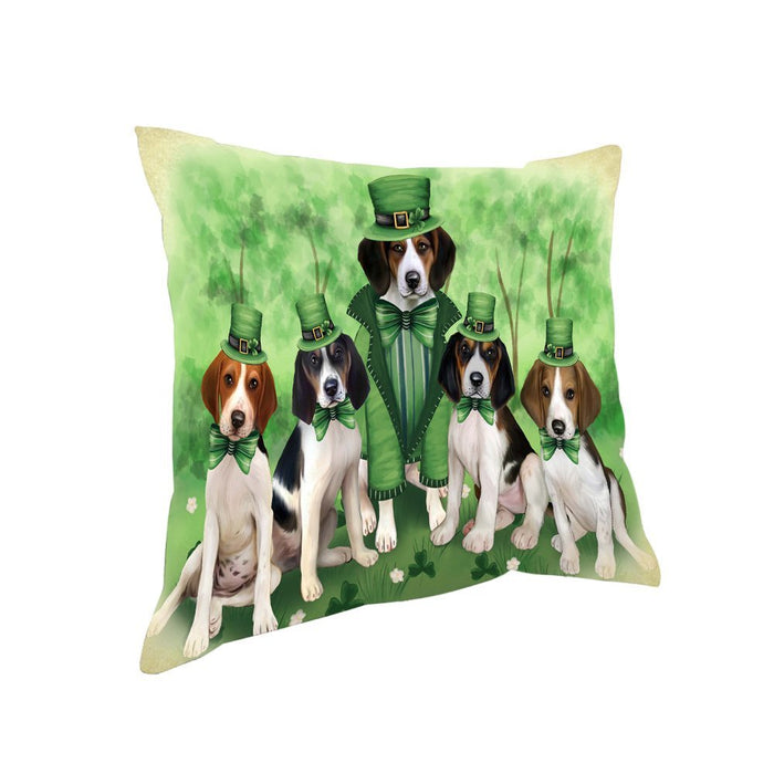 St. Patricks Day Irish Family Portrait Treeing Walker Coonhounds Dog Pillow PIL53036