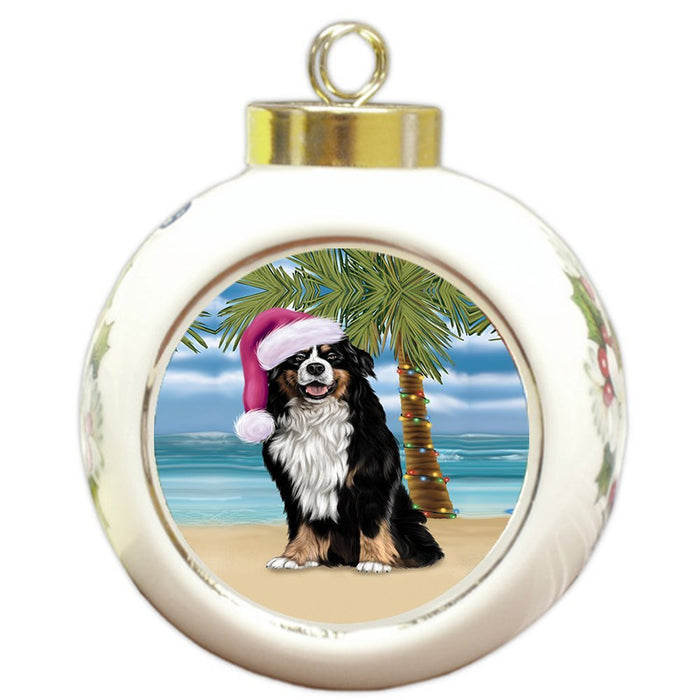 Summertime Happy Holidays Christmas Bernese Dog on Tropical Island Beach Round Ball Ornament
