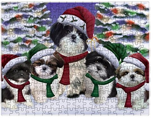 Shih Tzu Dog Christmas Family Portrait in Holiday Scenic Background Puzzle with Photo Tin (252 pc.)