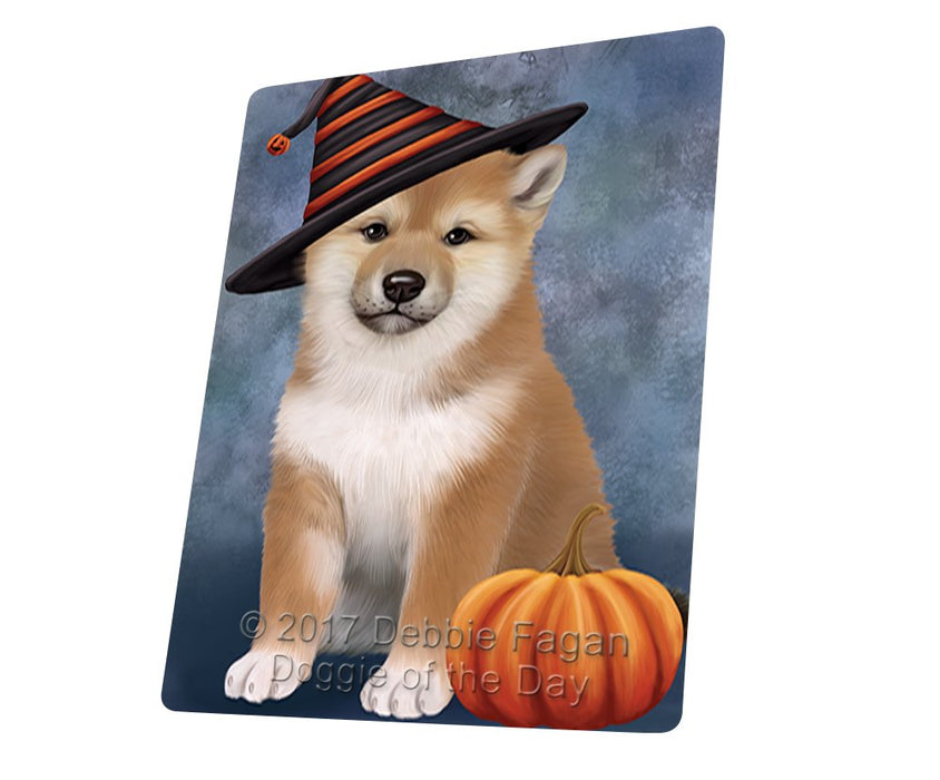 "Happy Halloween Shiba Inu Dog Wearing Witch Hat With Pumpkin Magnet Mini (3.5"" x 2"")"