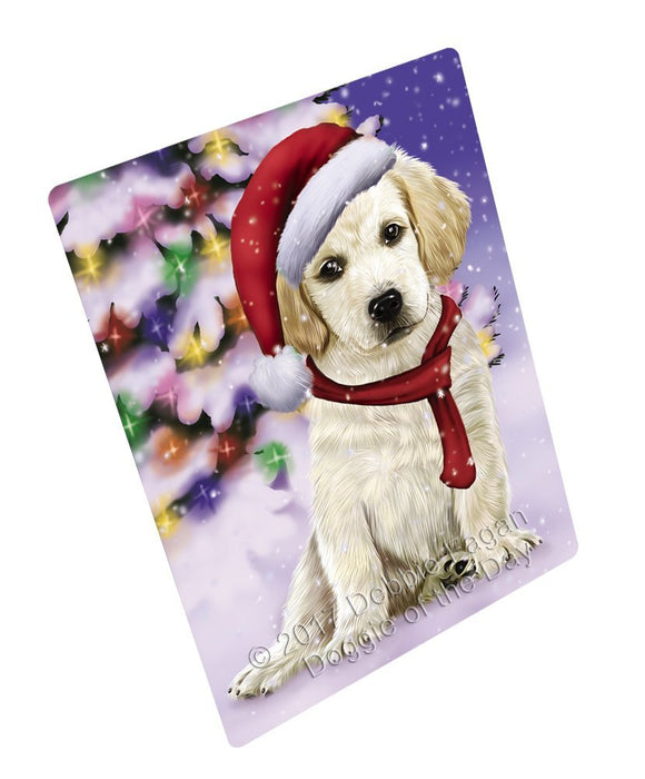 Winterland Wonderland Labrador Dog In Christmas Holiday Scenic Background Large Refrigerator / Dishwasher Magnet