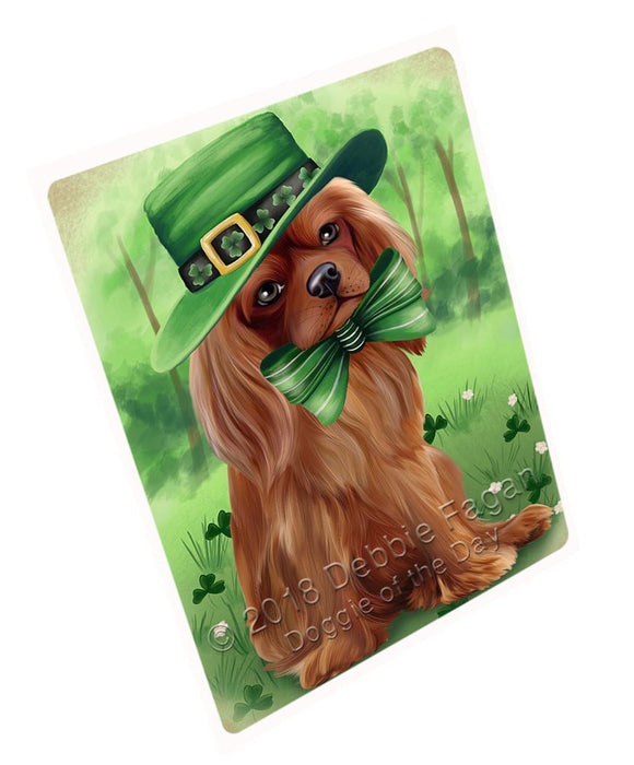 St. Patricks Day Irish Portrait Cavalier King Charles Spaniel Dog Tempered Cutting Board C50163
