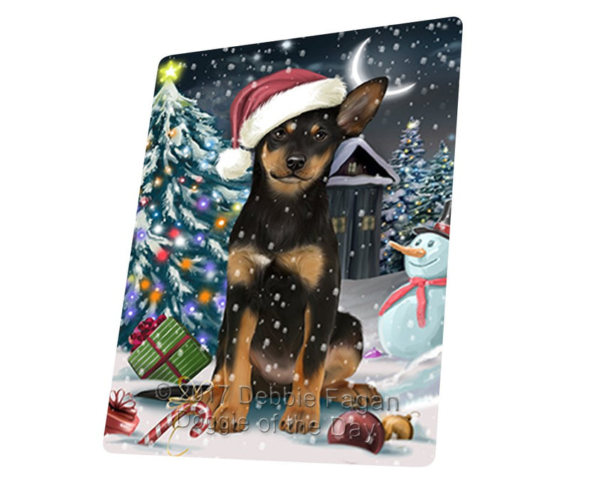 "Have A Holly Jolly Christmas Australian Kelpie Dog In Holiday Background Magnet Mini (3.5"" x 2"") D058"