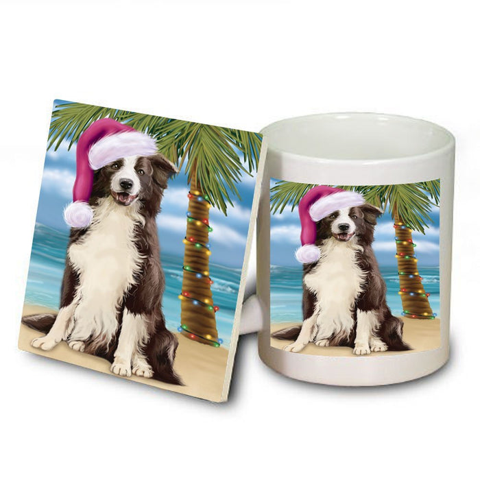 Summertime Border Collie Dog on Beach Christmas Mug and Coaster Set MUC0745