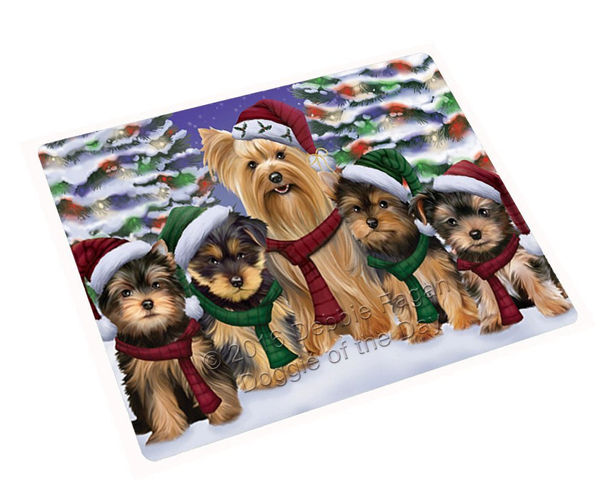 Yorkshire Terriers Dog Christmas Family Portrait in Holiday Scenic Background Art Portrait Print Woven Throw Sherpa Plush Fleece Blanket