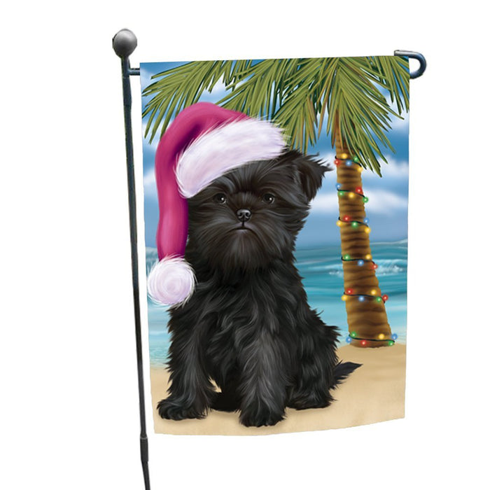 Summertime Happy Holidays Christmas Affenpinscher Dog on Tropical Island Beach Garden Flag