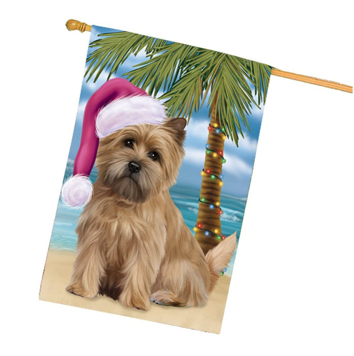 Summertime Happy Holidays Christmas Cairn Terrier Dog on Tropical Island Beach House Flag