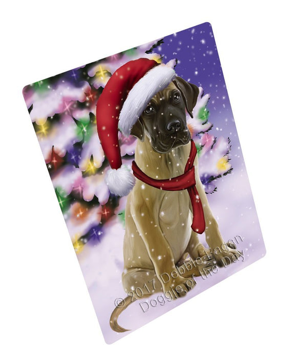 "Winterland Wonderland Great Dane Puppy Dog In Christmas Holiday Scenic Background Magnet Mini (3.5"" x 2"")"