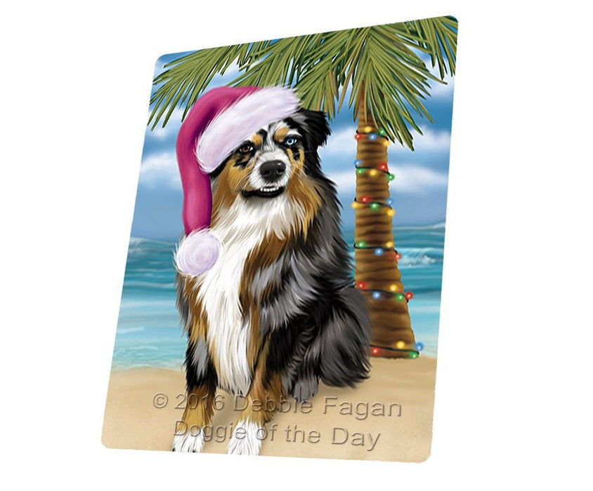 Summertime Happy Holidays Christmas Australian Shepherd Dog on Tropical Island Beach Tempered Cutting Board