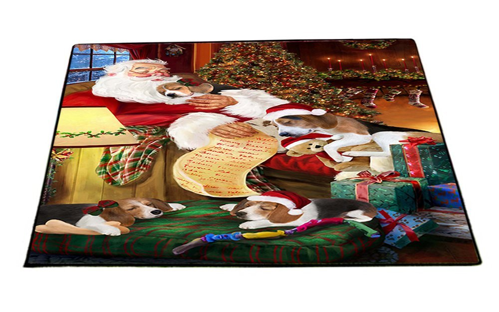 Treeing Walker Coonhound Dog and Puppies Sleeping with Santa Indoor/Outdoor Floormat