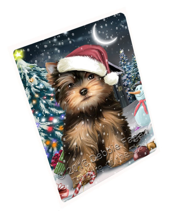 "Have A Holly Jolly Christmas Yorkshire Terrier Dog In Holiday Background Magnet Mini (3.5"" x 2"") D048"