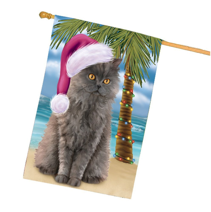 Summertime Christmas Happy Holidays Selkirk Rex Cat on Beach House Flag HFLG344