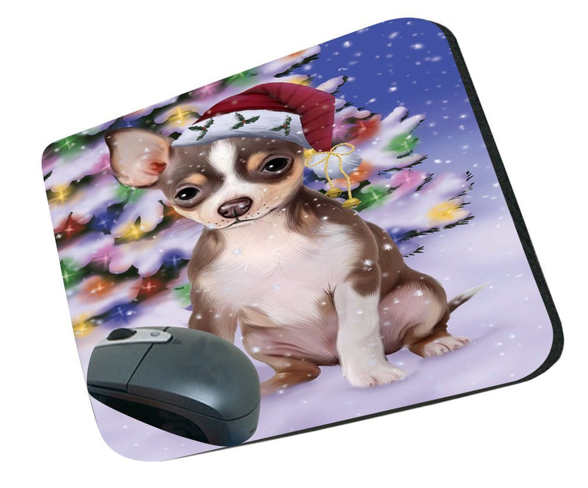 Winterland Wonderland Chihuahua Dog In Christmas Holiday Scenic Background Mousepad