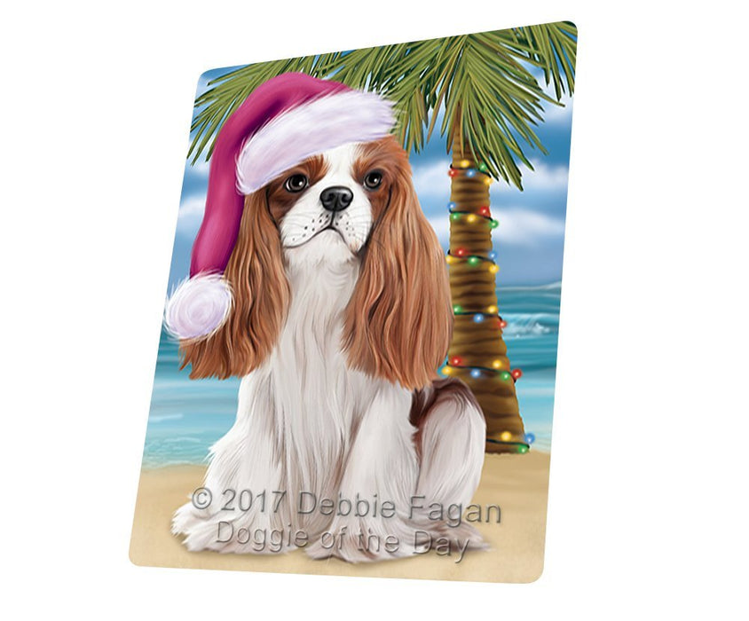 Summertime Happy Holidays Christmas Cavalier King Charles Spaniel Dog on Tropical Island Beach Large Refrigerator / Dishwasher Magnet D163
