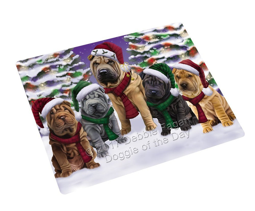 Shar Pei Dog Christmas Family Portrait in Holiday Scenic Background Refrigerator / Dishwasher Magnet