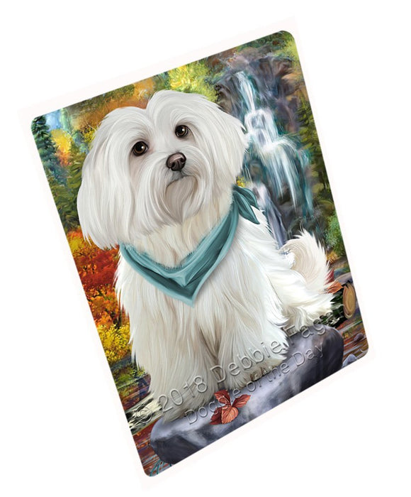 Scenic Waterfall Maltese Dog Tempered Cutting Board C52239